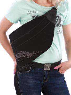 Модна сумка через плече з вышивкою, модель 190096 чорний. Зображення товару, вид спереду.