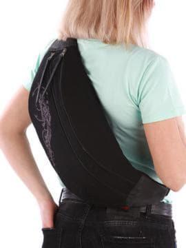 Модная сумка через плечо с вышивкой, модель 190096 черный. Изображение товара, вид сзади.