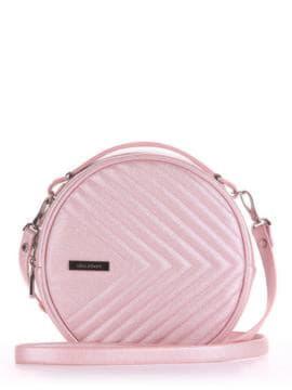Летняя сумка через плечо, модель 190164 розовый-перламутр. Изображение товара, вид спереди.