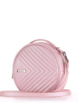 Летняя сумка через плечо, модель 190164 розовый-перламутр. Изображение товара, вид сбоку.