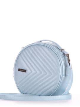 Брендовая сумка через плечо, модель 190165 голубой-перламутр. Изображение товара, вид сбоку.