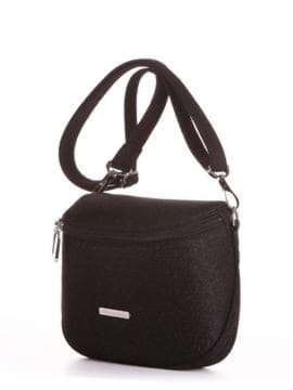 Летняя сумка через плечо, модель 190321 черный. Изображение товара, вид сбоку.