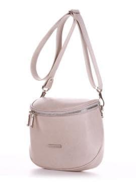 Стильная сумка через плечо, модель 190342 французский серый. Изображение товара, вид сбоку.