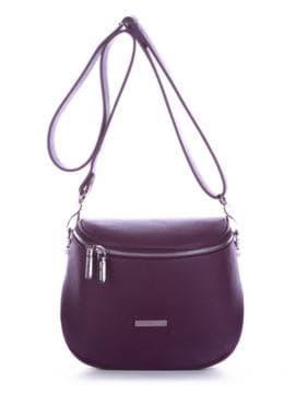 Летняя сумка через плечо, модель 190345 баклажан. Изображение товара, вид спереди.