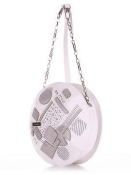 Молодежная сумка через плечо с вышивкой, модель 190361 белый. Изображение товара, вид сбоку.