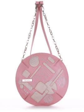 Брендова сумка через плече з вышивкою, модель 190363 пудрово-рожевий. Зображення товару, вид спереду.