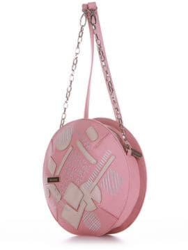 Брендовая сумка через плечо с вышивкой, модель 190363 пудрово-розовый. Изображение товара, вид сбоку.