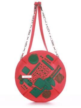 Стильная сумка через плечо с вышивкой, модель 190364 красный алый. Изображение товара, вид спереди.