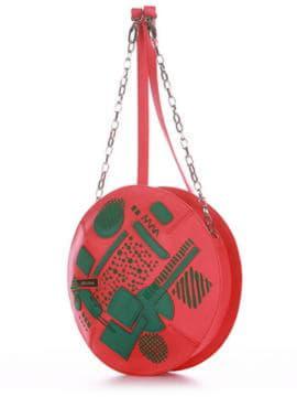 Стильная сумка через плечо с вышивкой, модель 190364 красный алый. Изображение товара, вид сбоку.