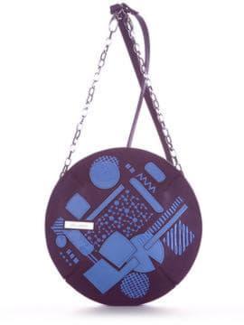 Модна сумка через плече з вышивкою, модель 190365 баклажан. Зображення товару, вид спереду.
