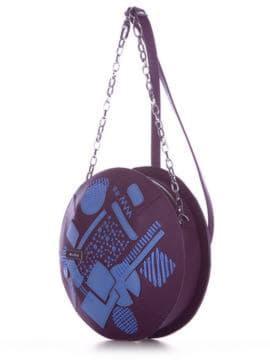 Модная сумка через плечо с вышивкой, модель 190365 баклажан. Изображение товара, вид сбоку.