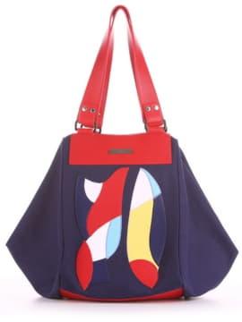 Модная cумка с вышивкой, модель 190041 синий. Изображение товара, вид спереди.