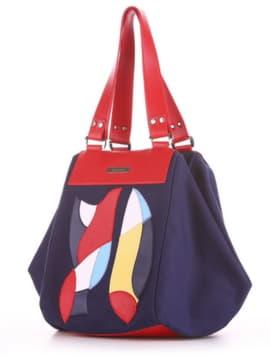 Модная cумка с вышивкой, модель 190041 синий. Изображение товара, вид сбоку.