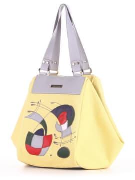 Летняя cумка с вышивкой, модель 190044 желтый. Изображение товара, вид сбоку.