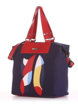 Летняя cумка с вышивкой, модель 190051 синий. Изображение товара, вид сбоку.