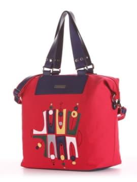 Модная cумка с вышивкой, модель 190052 красный. Изображение товара, вид сбоку.