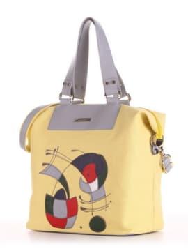 Брендовая cумка с вышивкой, модель 190054 желтый. Изображение товара, вид сбоку.