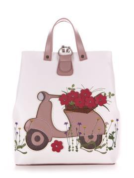 Фото товара: сумка-рюкзак 210123 білий-пудрово-рожевий. Вид 2.