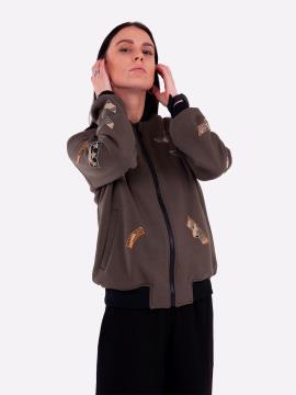 Фото товара: жіночий бомбер 201-008-00 хакі. Вид 1.
