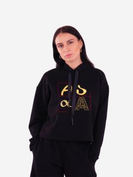Фото товара: жіноче худі 201-012-00 чорний. Вид 2.
