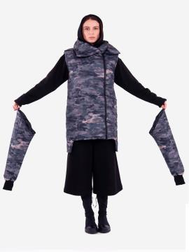 Фото товара: женский жилет 201-033-00 милитари. Вид 1.