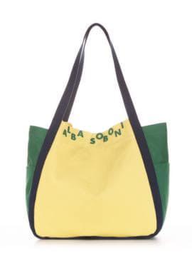 Летняя сумка, модель 190431 желтый-зеленый. Изображение товара, вид спереди.