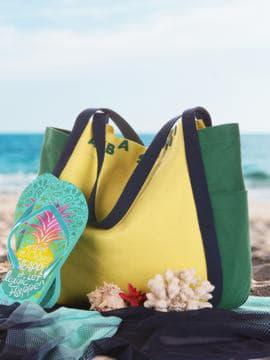 Летняя сумка, модель 190431 желтый-зеленый. Изображение товара, вид сбоку.