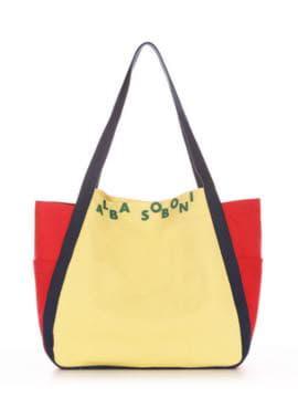 Женская сумка, модель 190432 желтый-красный. Изображение товара, вид спереди.