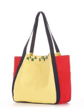 Женская сумка, модель 190432 желтый-красный. Изображение товара, вид сбоку.
