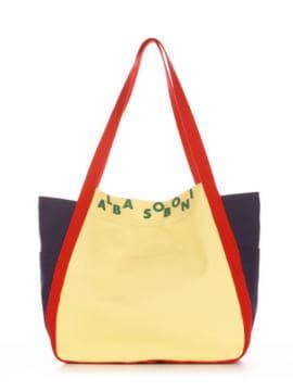Молодежная сумка, модель 190433 желтый-синий. Изображение товара, вид спереди.