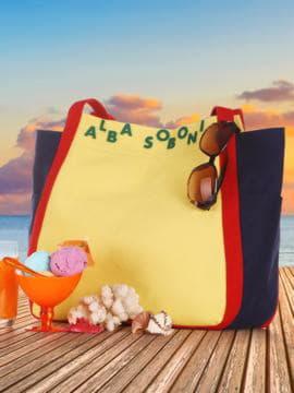 Молодежная сумка, модель 190433 желтый-синий. Изображение товара, вид сбоку.