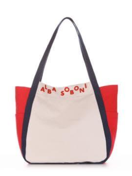 Женская сумка, модель 190434 светло-серый-красный. Изображение товара, вид спереди.