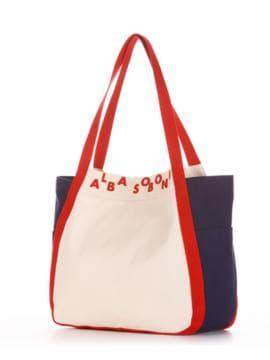 Летняя сумка, модель 190435 молочный-синий. Изображение товара, вид сбоку.