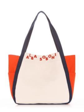Летняя сумка, модель 190436 молочный-оранжевый. Изображение товара, вид спереди.