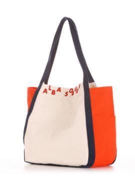 Летняя сумка, модель 190436 молочный-оранжевый. Изображение товара, вид сбоку.
