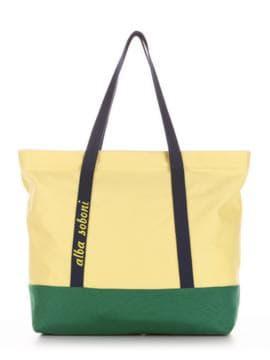 Летняя сумка с вышивкой, модель 190441 желтый-зеленый. Изображение товара, вид спереди.
