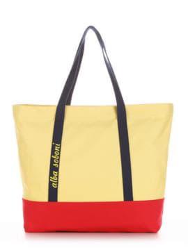 Летняя сумка с вышивкой, модель 190442 желтый-красный. Изображение товара, вид спереди.