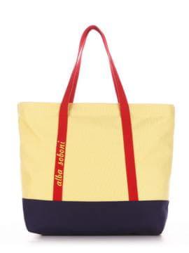 Летняя сумка с вышивкой, модель 190443 желтый-синий. Изображение товара, вид спереди.