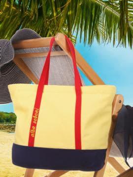 Летняя сумка с вышивкой, модель 190443 желтый-синий. Изображение товара, вид сбоку.