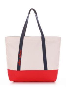 Модная сумка с вышивкой, модель 190444 светло-серый-красный. Изображение товара, вид спереди.