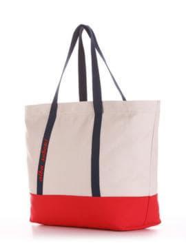 Модная сумка с вышивкой, модель 190444 светло-серый-красный. Изображение товара, вид сбоку.