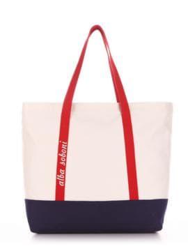 Брендовая сумка с вышивкой, модель 190445 молочный-синий. Изображение товара, вид спереди.