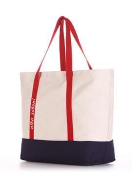 Брендовая сумка с вышивкой, модель 190445 молочный-синий. Изображение товара, вид сбоку.
