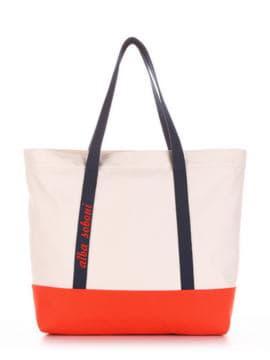 Молодежная сумка с вышивкой, модель 190446 молочный-оранжевый. Изображение товара, вид спереди.