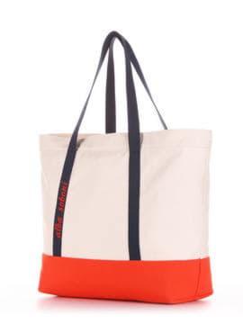 Молодежная сумка с вышивкой, модель 190446 молочный-оранжевый. Изображение товара, вид сбоку.