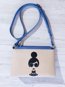 Фото товара: сумка через плече 201312 блакитний-беж. Вид 1.