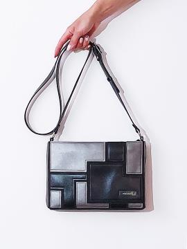 Фото товара: сумка через плече 201382 чорний-нікель. Вид 1.