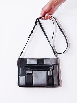 Фото товара: сумка через плече 201382 чорний-нікель. Вид 2.