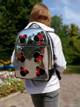 Рюкзак школьный для девочки Mickey Mouse alba soboni 211501 цвет серебро. Фото - 2