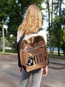 Рюкзак для школы для девочек c котом Мяу alba soboni 211502 цвет золото . Фото - 1
